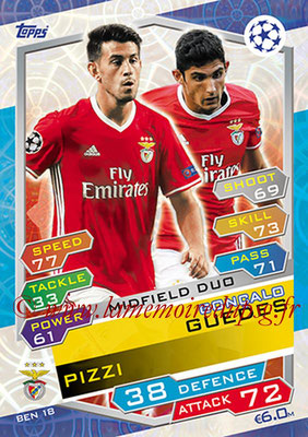 2016-17 - Topps UEFA Champions League Match Attax - N° BEN18 - Gonçalo GUEDES + PIZZI (SL Benfica) (Midfield Duo)