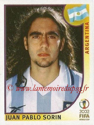 2002 - Panini FIFA World Cup Stickers - N° 391 - Juan Pablo SORIN (Argentine)