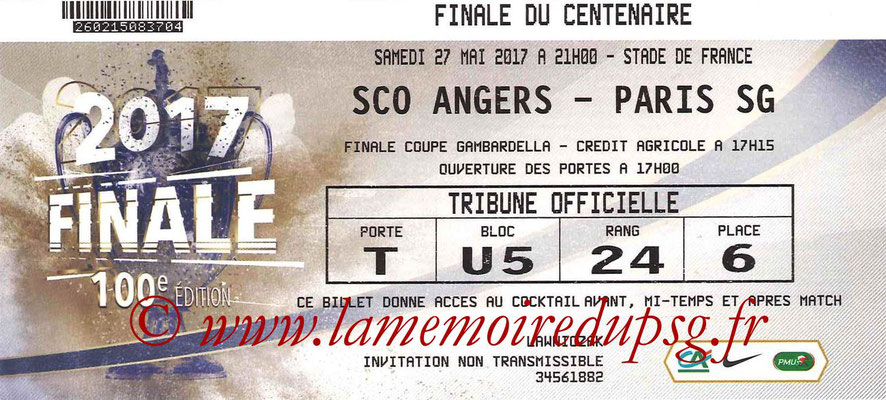 Ticket  PSG-Angers  2016-17