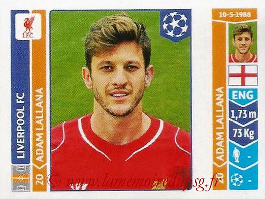 2014-15 - Panini Champions League N° 160 - Adam LALLANA (Liverpool FC)
