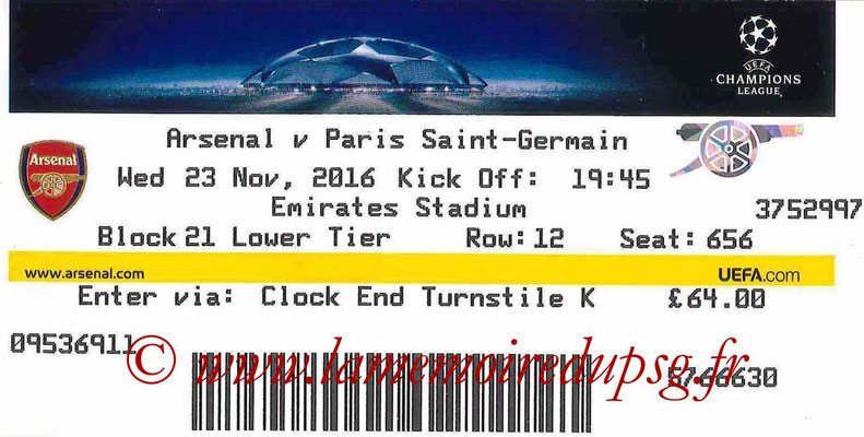 Ticket  Arsenal-PSG  2016-17