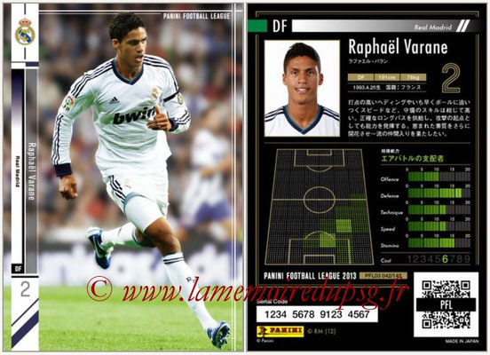 Panini Football League 2013 - PFL03 - N° 042 - Raphael Varane (Real Madrid)