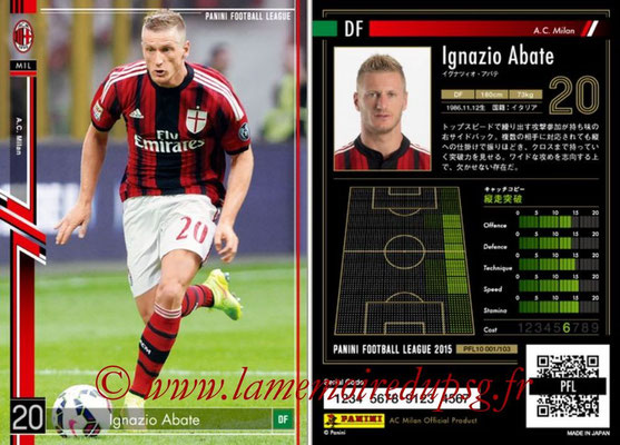 Panini Football League 2015 - PFL10 - N° 001 - Ignacio ABATE (Milan AC)