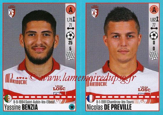 2016-17 - Panini Ligue 1 Stickers - N° 290 + 291 - Yassine BENZIA + Nicolas DE PREVILLE (Lille)