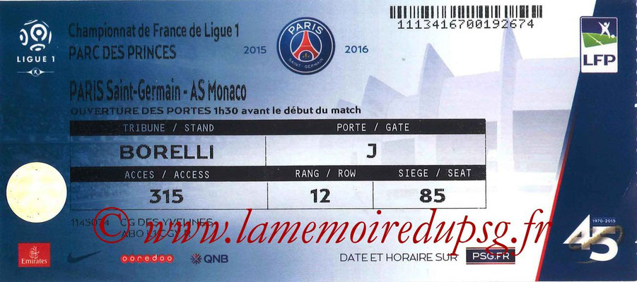 Tickets  PSG-Monaco  2015-16
