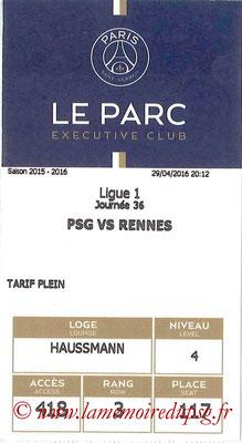 Tickets  PSG-Rennes  2015-16
