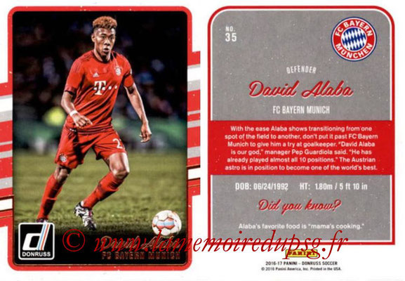 2016 - Panini Donruss Cards - N° 035 - David ALABA (FC Bayern Munich)