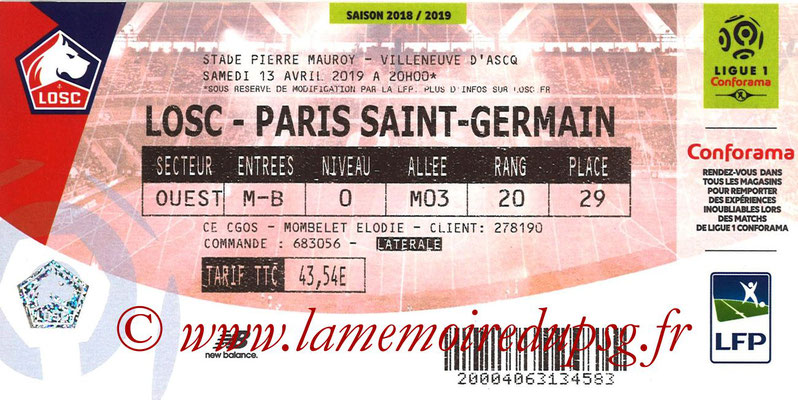 Ticket  Lille-PSG  2018-19