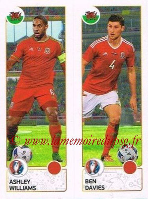 Panini Euro 2016 Stickers - N° 203 - Ashley WILLIAMS + Ben DAVIES (Pays de Galles)