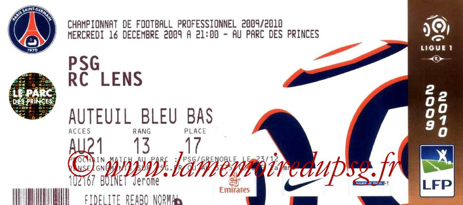 Tickets  PSG-Lens   2009-10