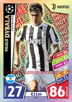 2017-18 - Topps UEFA Champions League Match Attax - N° 374 - Paulo DYBALA (Juventus) (Hot Shot)