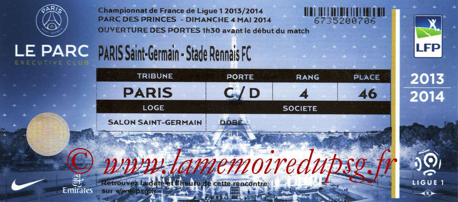 Tickets  PSG-Rennes  2013-14