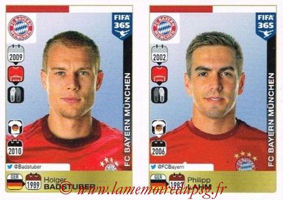 2015-16 - Panini FIFA 365 Stickers - N° 464-465 - Holger BADSTUBER + Philipp LAHM (FC Bayern Munich)