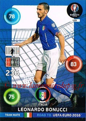 Panini Road to Euro 2016 Cards - N° 119 - Leonardo BENUCCI (Italie)
