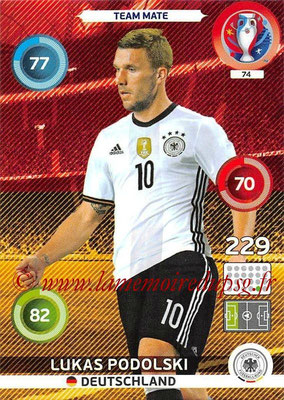 Panini Euro 2016 Cards - N° 074 - Lukas PODOLSKI (Allemagne)