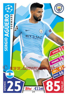 2017-18 - Topps UEFA Champions League Match Attax - N° 179 - Sergio AGUERO (Manchester City FC)