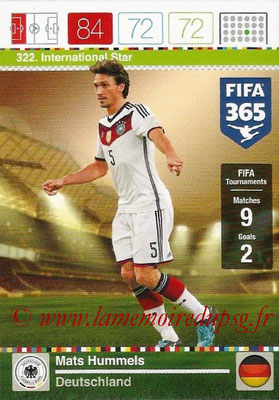2015-16 - Panini Adrenalyn XL FIFA 365 - N° 322 - Mats HUMMELS (Allemagne) (International Star)