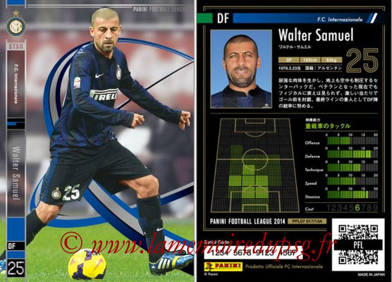 Panini Football League 2014 - PFL07 - N° 017 - Walter SAMUEL (Inter) (Star)