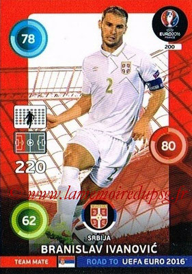 Panini Road to Euro 2016 Cards - N° 200 - Branislav IVANOVIC (Serbie)