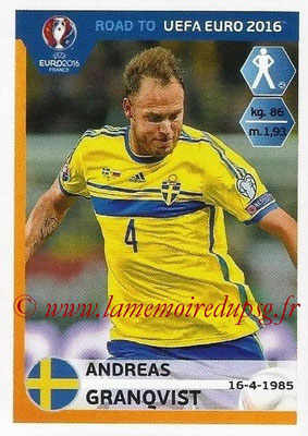 Panini Road to Euro 2016 Stickers - N° 338 - Andreas GRANQVIST (Suède)