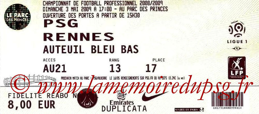 Tickets  PSG-Rennes  2008-09