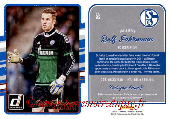 2016 - Panini Donruss Cards - N° 092 - Ralf FÄHRMANN (FC Schalke 04)