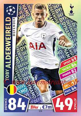 2017-18 - Topps UEFA Champions League Match Attax - N° 131 - Toby ALDERWEIRELD (Tottenham Hotspur) (Defensive Dynamo)