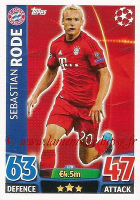 2015-16 - Topps UEFA Champions League Match Attax - N° 170 - Sebastian RODE (FC Bayern Munich)