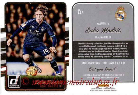 2016 - Panini Donruss Cards - N° 143 - Luka MODRIC (Real Madrid CF)