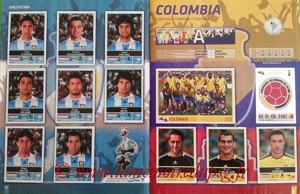 Panini Copa América Argentina 2011 - Pages 06 et 07 - Argentine et Colombie