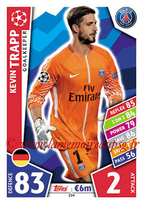 2017-18 - Topps UEFA Champions League Match Attax - N° 254 - Kevin TRAPP (Paris Saint-Germain)