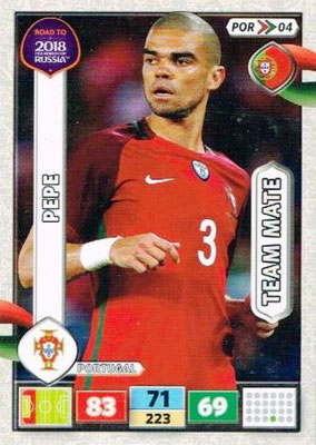 2018 - Panini Road to FIFA World Cup Russia Adrenalyn XL - N° POR04 - PEPE (Portugal)