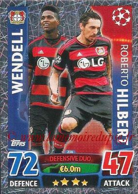 2015-16 - Topps UEFA Champions League Match Attax - N° 216 - WENDELL + Roberto HILBERT (Bayer 04 Leverkusen) (Defensive Duo)