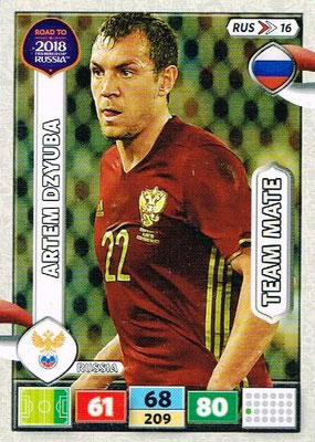 2018 - Panini Road to FIFA World Cup Russia Adrenalyn XL - N° RUS16 - Artem DZYUBA (Russie)