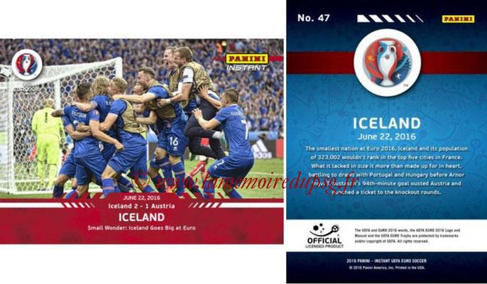 Panini Instant Euro 2016 - N° 047 - Islande