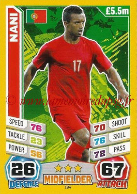 Topps Match Attax England 2014 - N° 194 - NANI (Portugal)