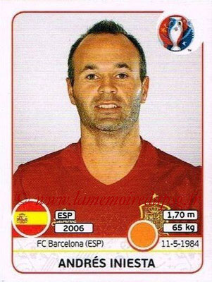 Panini Euro 2016 Stickers - N° 363 - Andrés INIESTA (Espagne)