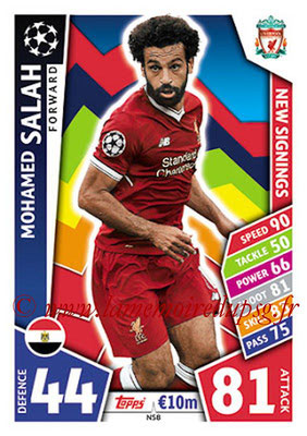 2017-18 - Topps UEFA Champions League Match Attax - N° NS08 - Mohamed SALAH (Liverpool FC) (New Signings)