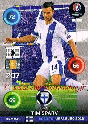 Panini Road to Euro 2016 Cards - N° 211 - Tim SPARV (Finlande)