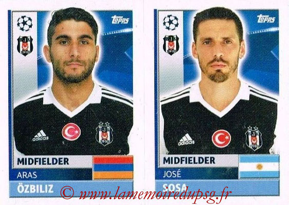 2016-17 - Topps UEFA Champions League Stickers - N° BES 14-15 - José SOSA + Aras OZBILIZ (Besiktas JK)