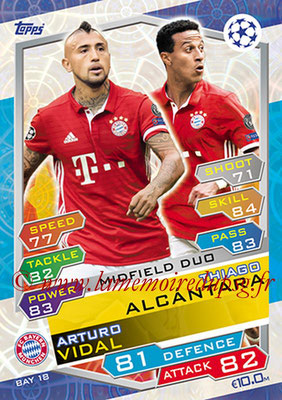 2016-17 - Topps UEFA Champions League Match Attax - N° BAY18 - Thiago ALCANTARA + Arturo VIDAL (FC Bayern Munich) (Midfield Duo)