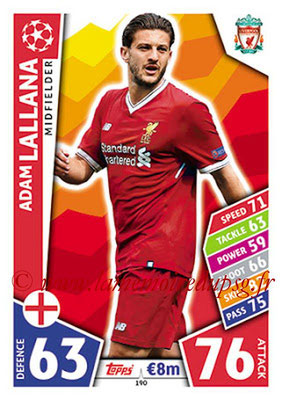 2017-18 - Topps UEFA Champions League Match Attax - N° 190 - Adam LALLANA (Liverpool FC)