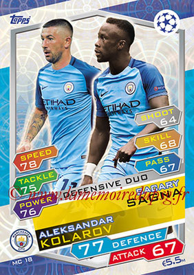 2016-17 - Topps UEFA Champions League Match Attax - N° MC18 - Bacary SAGNA + Aleksanda KOLAROV (Manchester City FC) ( Defensive Duo)