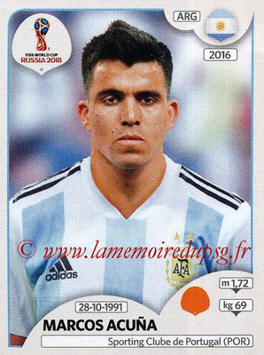2018 - Panini FIFA World Cup Russia Stickers - N° 284 - Marcos ACUNA (Argentine)