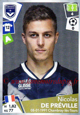 2017-18 - Panini Ligue 1 Stickers - N° 068 - Nicolas DE PREVILLE (Bordeaux)