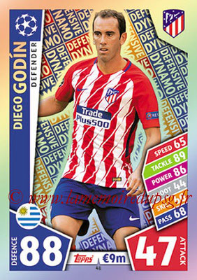 2017-18 - Topps UEFA Champions League Match Attax - N° 041 - Diego GODIN (Club Atletico de Madrid) (Defensive Dynamo)