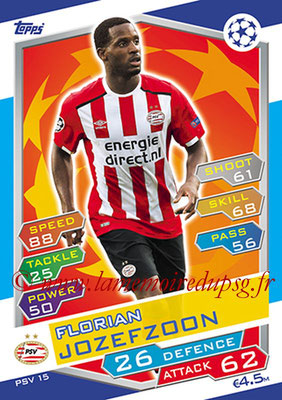 2016-17 - Topps UEFA Champions League Match Attax - N° PSV15 - Florian JOZEFZOON (PSV Eindhoven)
