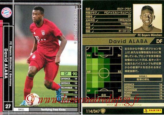 2015-16 - Panini WCCF - N° 114 - David ALABA (FC Bayern Munich)