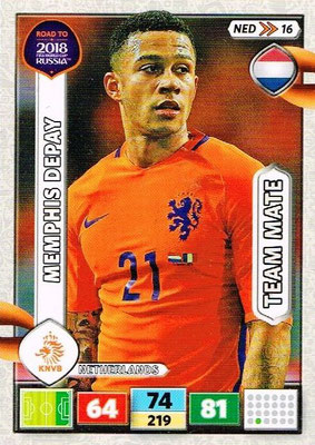 2018 - Panini Road to FIFA World Cup Russia Adrenalyn XL - N° NED16 - Memphis DEPAY (Pays-Bas)