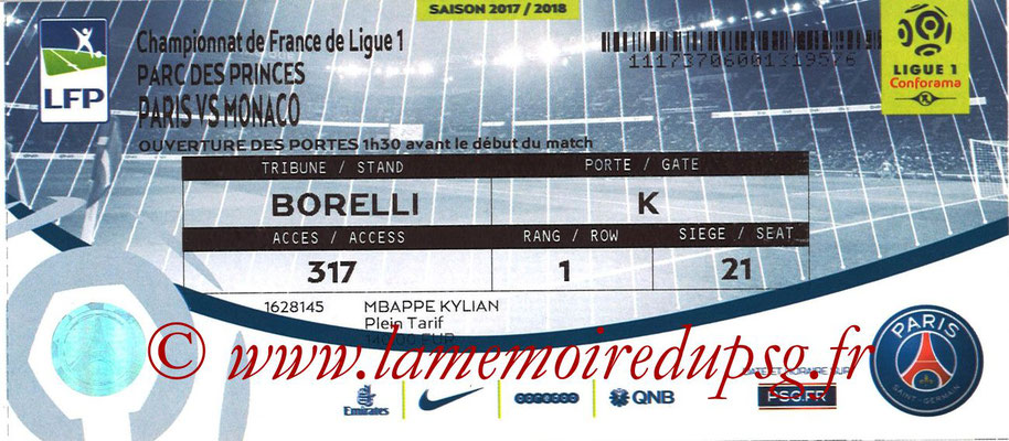 Tickets  PSG-Monaco  2017-18